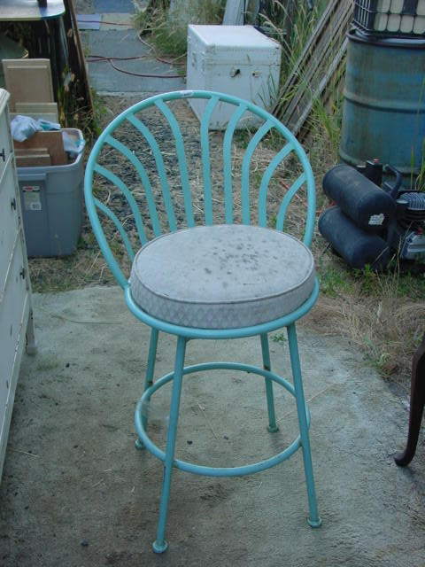 Old Painted Wrought Iron its HEAVY Bar Stool Being Left as