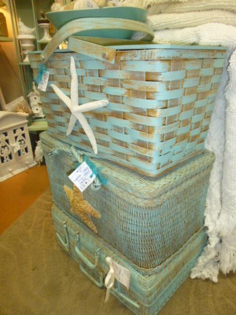 Shabby Beach Ified Wicker Picnic Basket Aj S