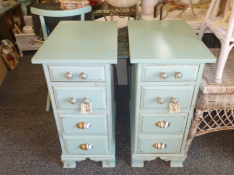 PAIR of night stands made from taking apart a big desk that had drawers on both sides.