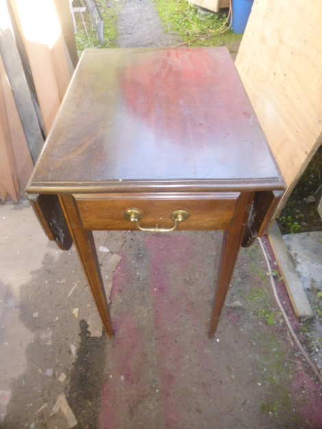 Drop leaf lamp table BEFORE.