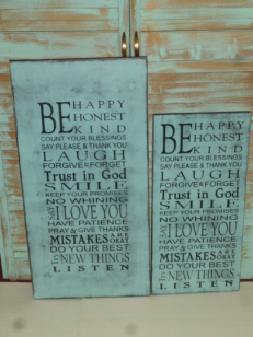 "$45/ 59. BE HAPPY: 14"" X 26"" (SM)"