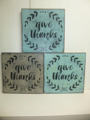 "$25. GIVE THANKS: 12"" X 12"""