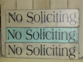 "$29. NO SOLICITING: 6"" X 24"""