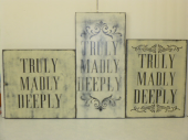 "$29. TRULY MADLY DEEPLY: 12"" X 12"" (CUSTOM OPTIONS HIGHER)"